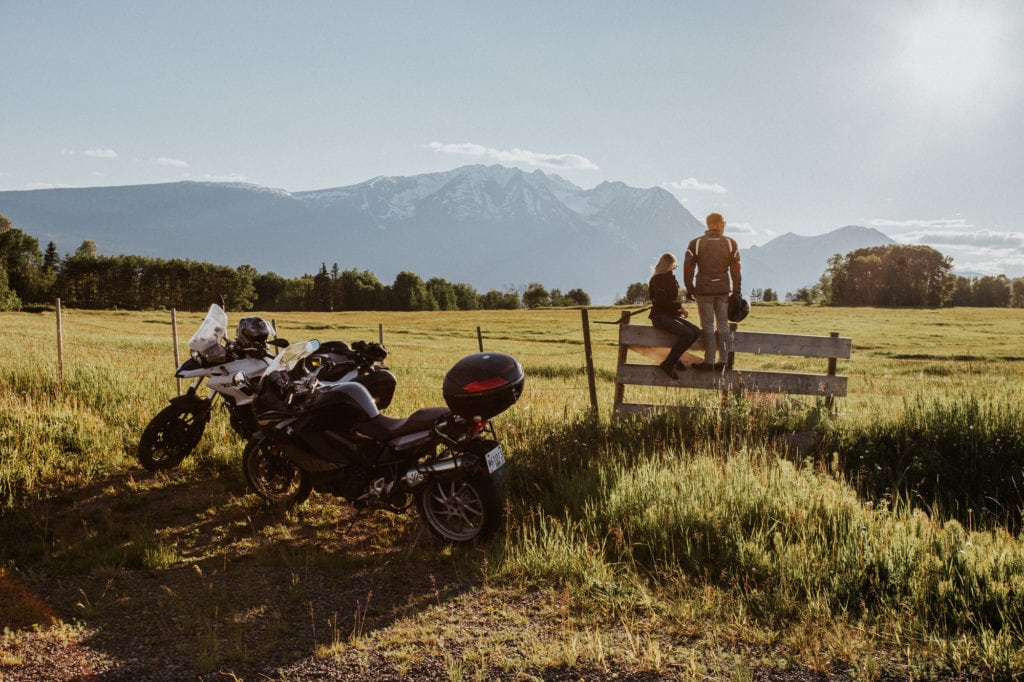 2 motorcylists take a roadside break on their Route 16 exploration.