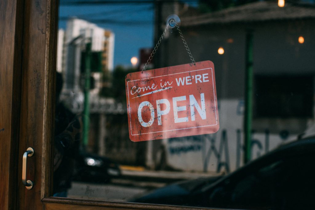 Image of an open sign at a business.
